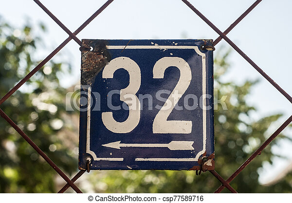 Weathered enameled plate number 32 - csp77589716