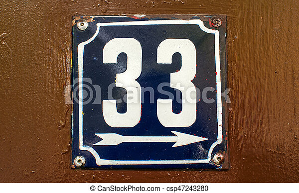 Weathered enameled plate number 33 - csp47243280