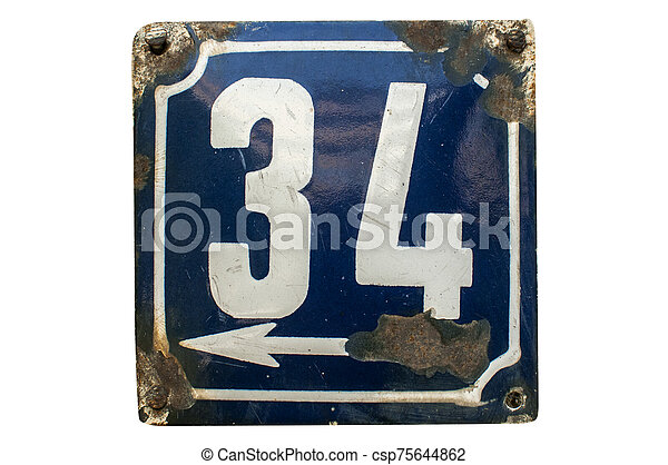 Weathered enameled plate number 34 - csp75644862