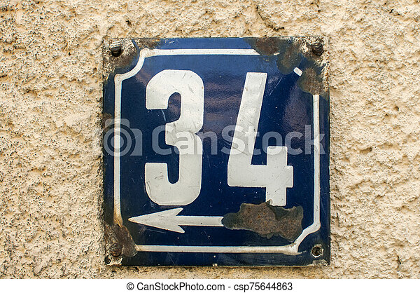 Weathered enameled plate number 34 - csp75644863