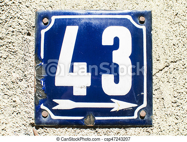 Weathered enameled plate number 43 - csp47243207