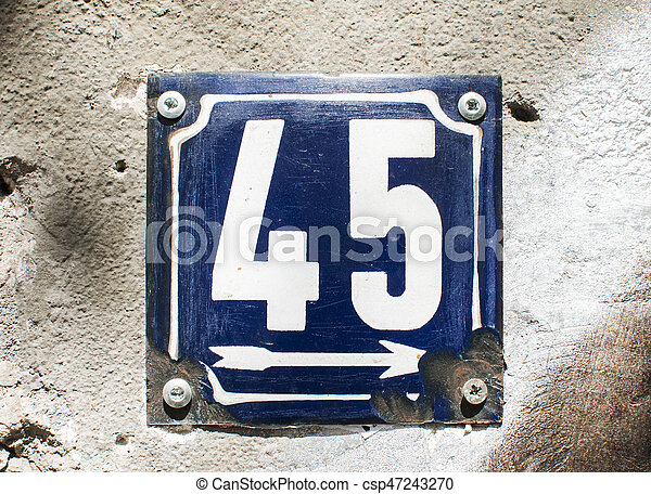 Weathered enameled plate number 45 - csp47243270