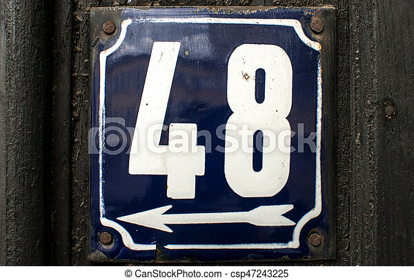 Weathered enameled plate number 48 - csp47243225