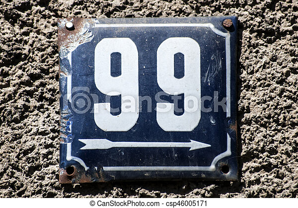 Weathered enameled plate number 99 - csp46005171