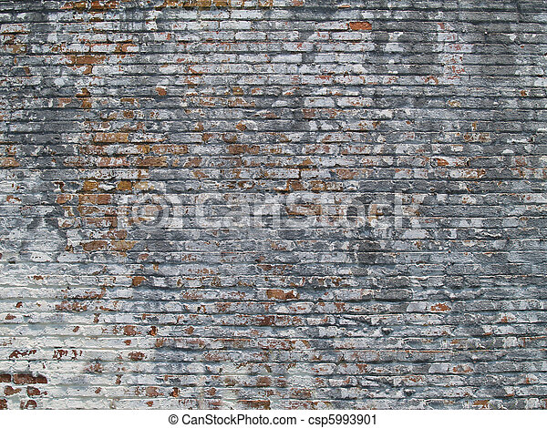 Weathered Painted Brick Wall - csp5993901