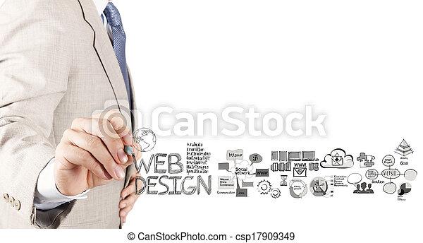 web, концепция, бизнес, рука, диаграмма, дизайн, рисование, человек - csp17909349