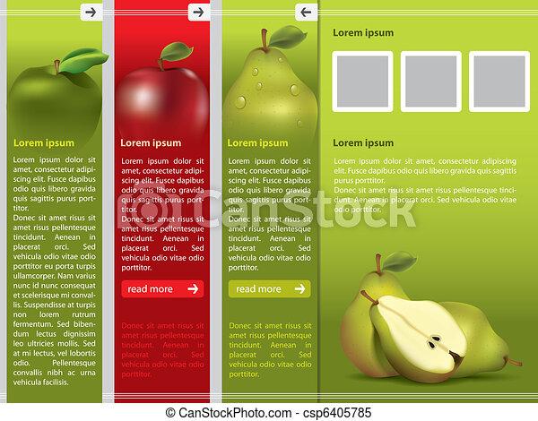 web ページ, 新鮮な果物, テンプレート, themed - csp6405785