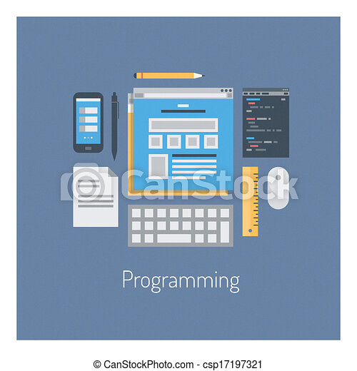 Web and HTML programming flat illustration - csp17197321