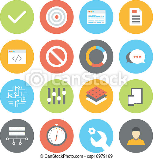 Web and UI flat icons set - csp16979169