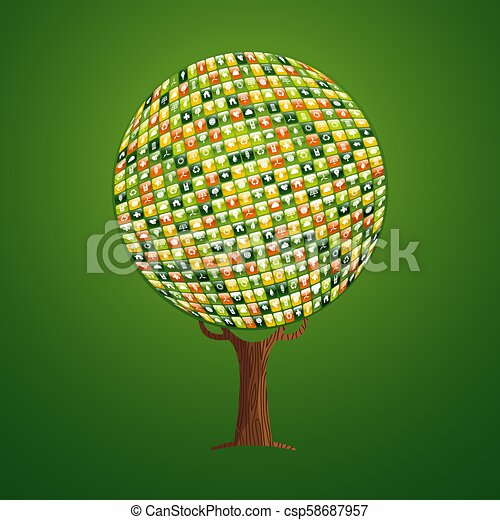 Web app icon tree concept for environment help - csp58687957
