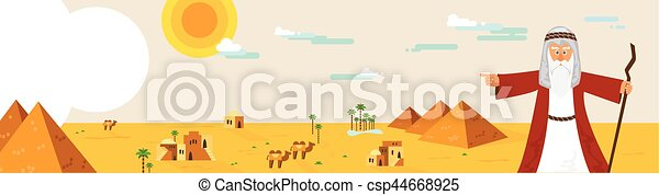 Web banner with Moses from Passover story and Egypt landscape . abstract design vector illustration - csp44668925