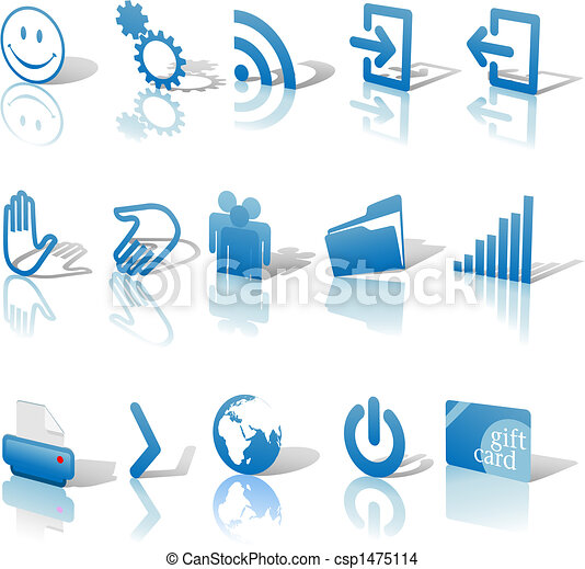 Web Blue Icons Set Shadows & Relections Angled 1 - csp1475114