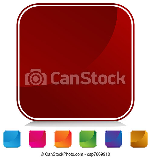 web, bottone, quadrato, arrotondato - csp7669910