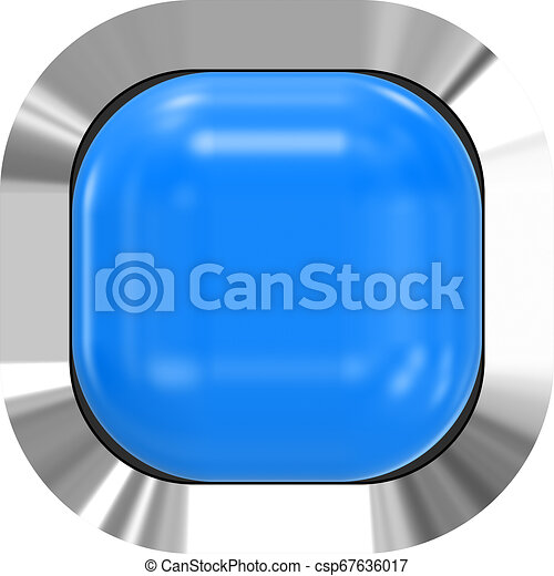 Web button 3d - blue glossy realistic with metal frame, easy to expand - csp67636017