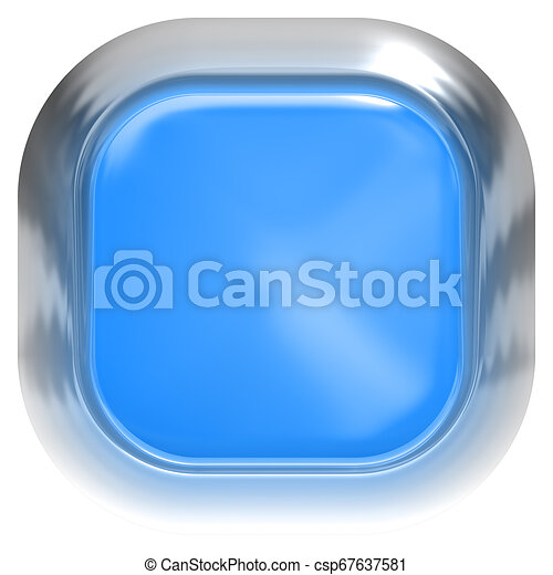Web button 3d - blue glossy realistic with metal frame, easy to expand - csp67637581