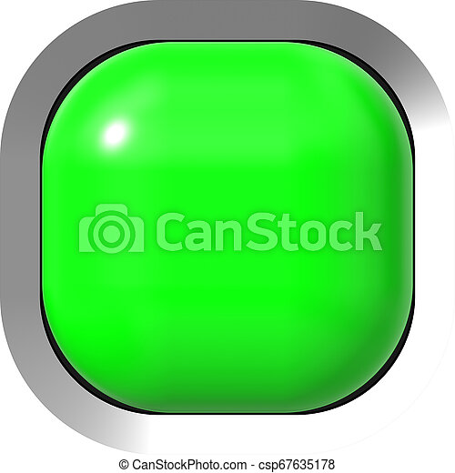 Web button 3d - green glossy realistic with metal frame, easy to expand - csp67635178