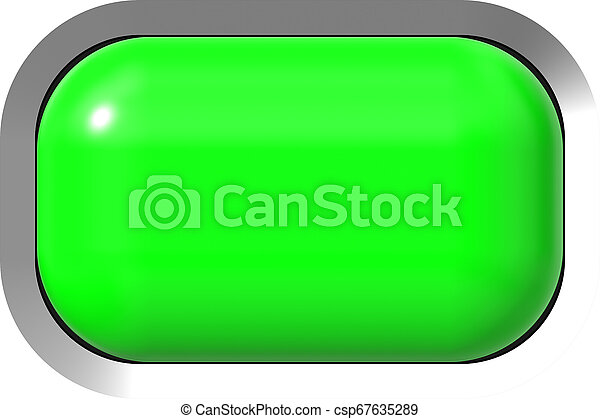 Web button 3d - green glossy realistic with metal frame, easy to expand - csp67635289