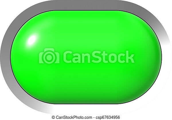 Web button 3d - green glossy realistic with metal frame, easy to expand - csp67634956