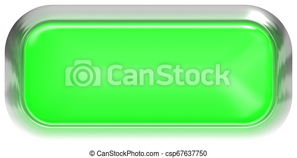 Web button 3d - green glossy realistic with metal frame, easy to expand - csp67637750