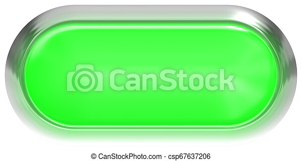 Web button 3d - green glossy realistic with metal frame, easy to expand - csp67637206