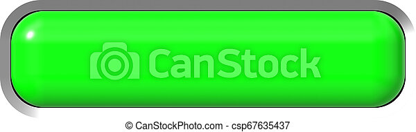 Web button 3d - green glossy realistic with metal frame, easy to expand - csp67635437