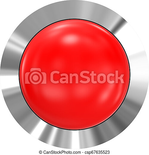 Web button 3d - red glossy realistic with metal frame - csp67635523