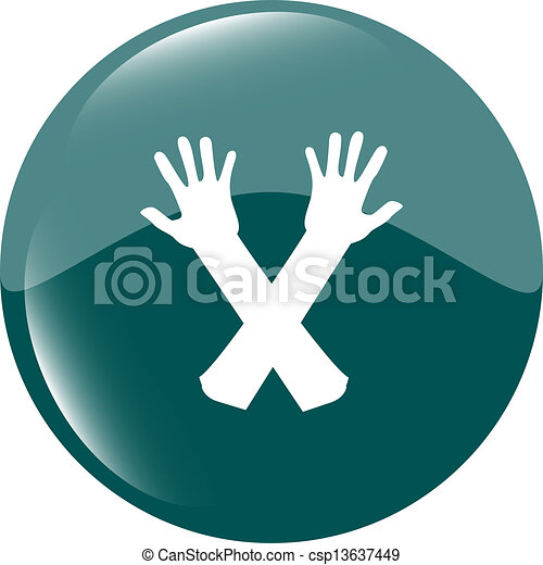 web button hand icon on white - csp13637449