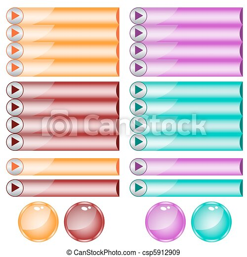 Web buttons assorted colors and shapes - csp5912909