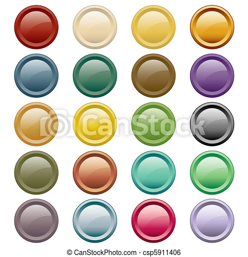 Web buttons assorted colors - csp5911406