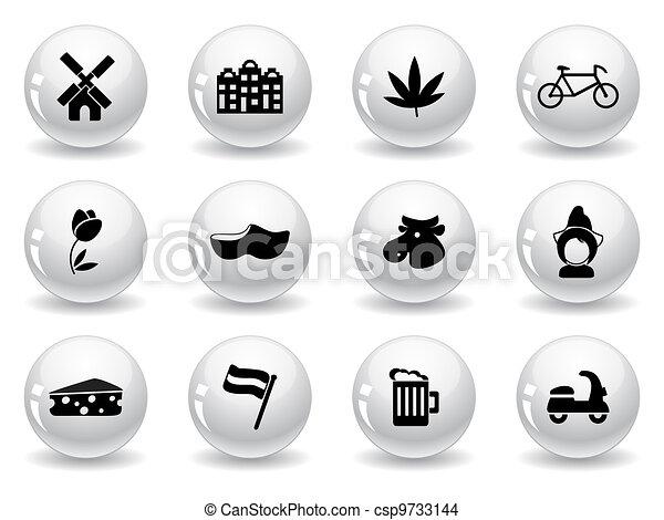 Web buttons, Dutch culture icons - csp9733144