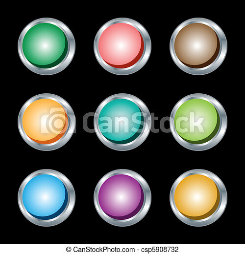 Web buttons, round with silver metallic rims. - csp5908732