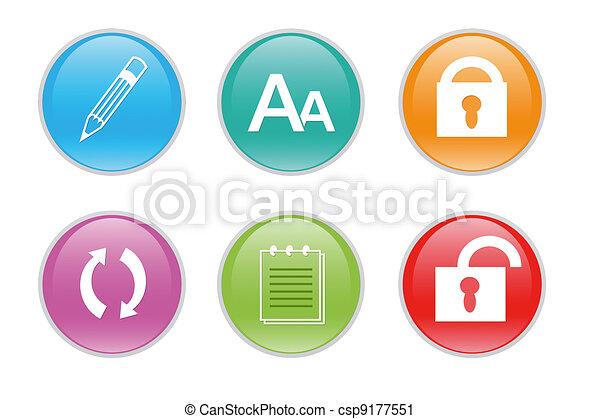 web, colorito, icone - csp9177551