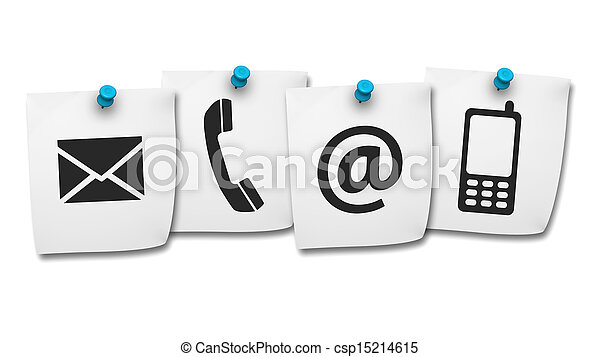 Web Contact Us Icons On Post It - csp15214615
