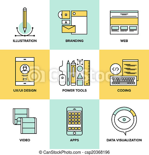 Web design and development flat line icons - csp20368196
