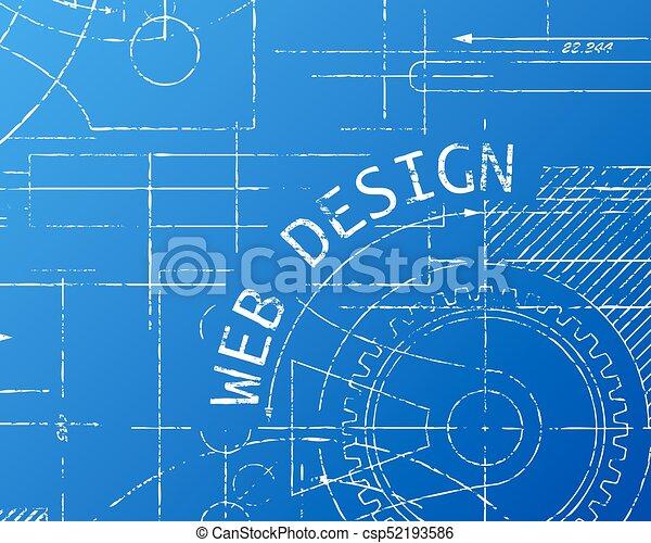 Web design blueprint machine hand drawn web design sign and gear web design blueprint machine csp52193586 malvernweather Images