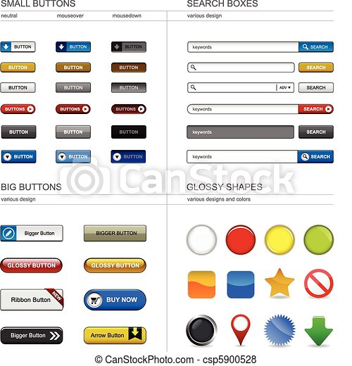 Web Design Button Element - csp5900528
