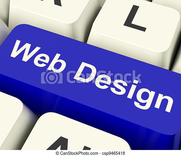 Web Design Computer Key Shows Internet Or Online Graphic Designing - csp9465418