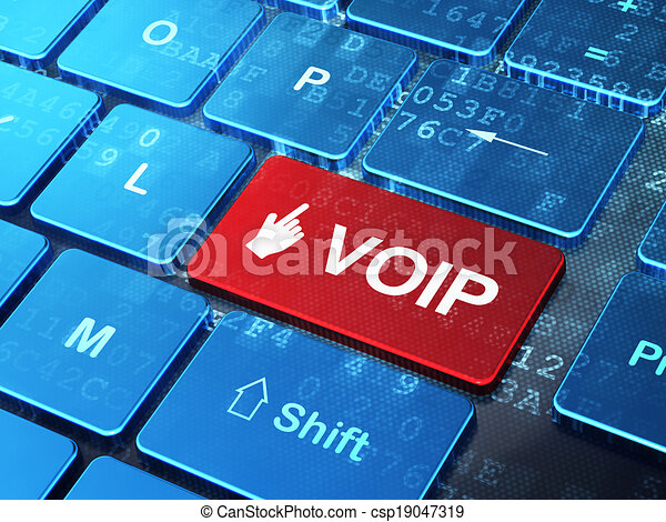 Web design concept: Mouse Cursor and VOIP on computer keyboard background - csp19047319