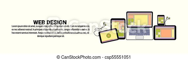 Web Design Development Concept Horizontal Banner With Copy Space - csp55551051