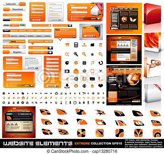Web design elements extreme collection - frames, bars, 101 icons ...