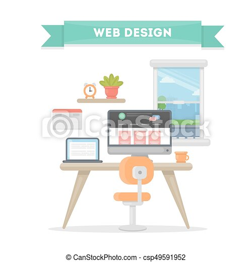Web Design Workplace Desk With Computer Window And Laptop