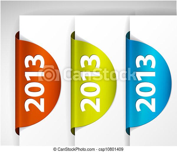 Vector 2013 ronda etiquetas / etiquetas en el borde de la página - csp10801409