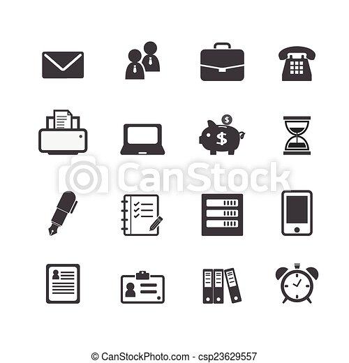 web, finanziario, ufficio, icone affari, lavoro, posto lavoro - csp23629557