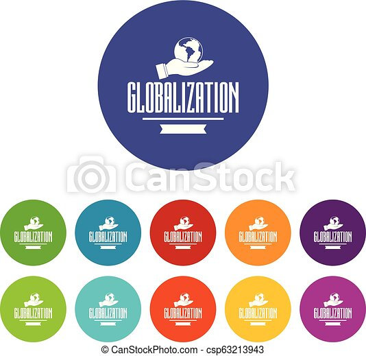 Web globalization icons set vector color - csp63213943