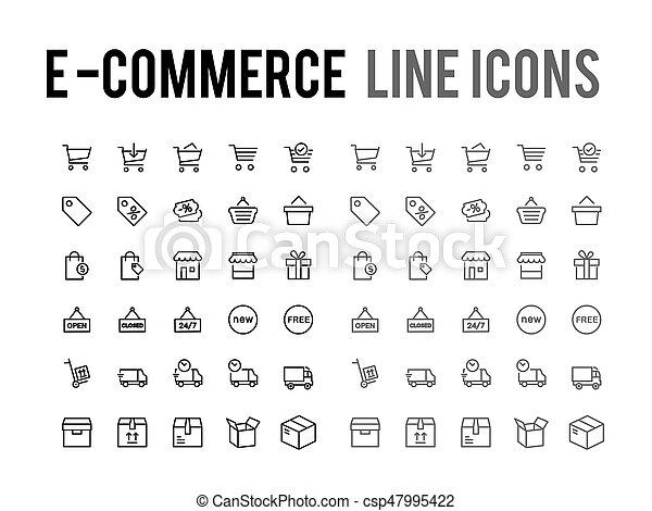 web het winkelen, beweeglijk, app, -, vector, online, ontvankelijk, lijn, pictogram - csp47995422