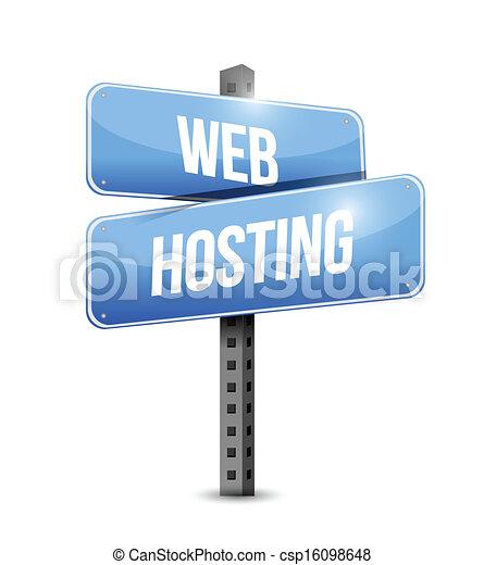 web hosting road sign illustration design - csp16098648