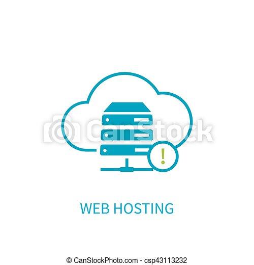 web hosting server icon with internet cloud storage computing