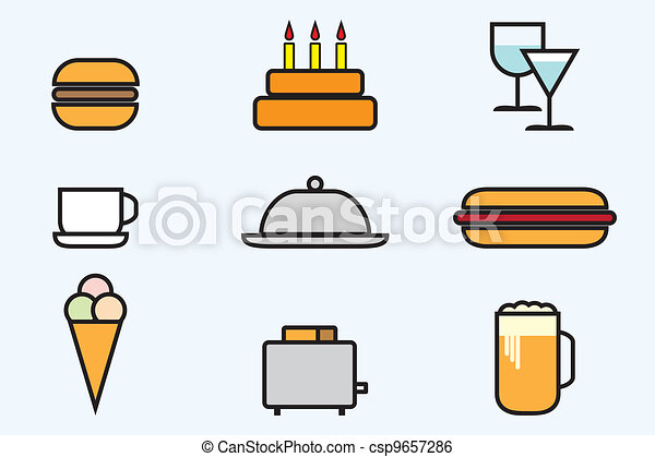 Web icon set - foods and beverages - csp9657286