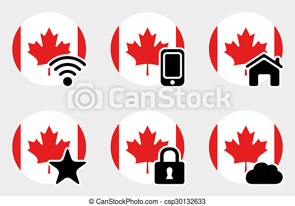 Web Icon Set with the Flag of Canada - csp30132633