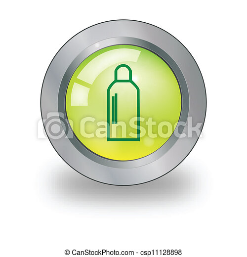 Web icon with sign over button - csp11128898